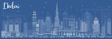 Outline Dubai UAE Skyline with White Buildings.
