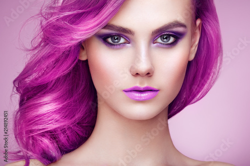 Beauty Fashion Model Girl with Colorful Dyed Hair. Girl with Perfect Makeup and Hairstyle. Model with Perfect Healthy Dyed Hair © Oleg Gekman