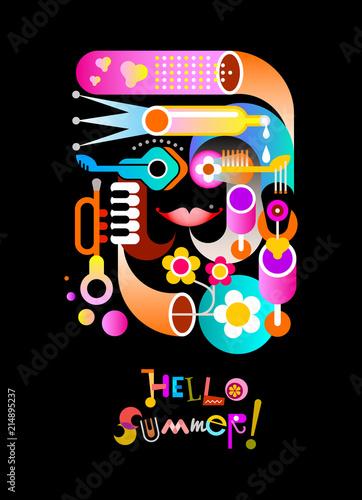 In de dag Abstractie Art Hello Summer vector design