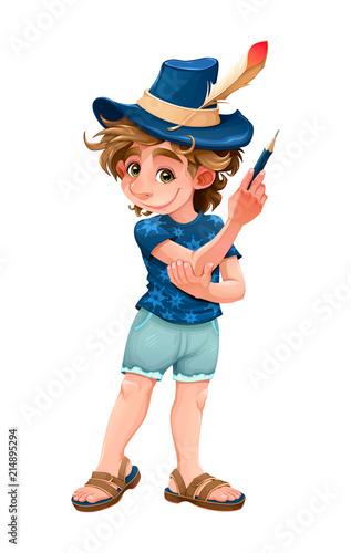 Foto Spatwand Kinderkamer Magician child with blue hat