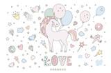 Unicorn vector sweet cute illustration. Magic fantasy design. Cartoon rainbow animal isolated horse. Fairytale unicorn print poster. - 214899017