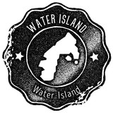 Water Island map vintage stamp. Retro style handmade label, badge or element for travel souvenirs. Black rubber stamp with island map silhouette. Vector illustration. - 214903037