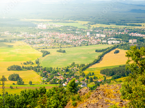 Foto Spatwand Honing Rural landscape around Mimon on sunny summer day, view from Ralsko mountain, Czech Republic.