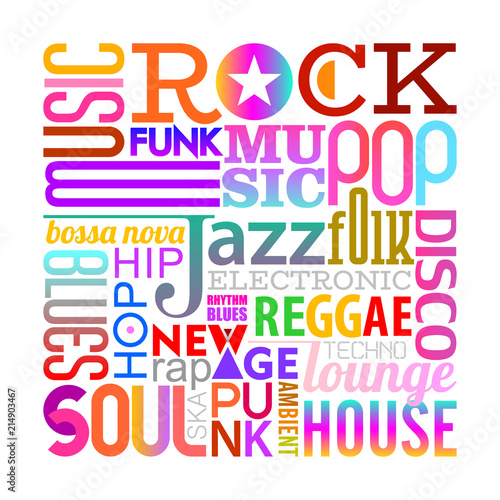 In de dag Abstractie Art Music Styles text design on a white