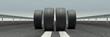 4 Reifen auf Straße als Panorama - 214910298