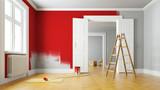 Wand rot streichen bei Renovierung im Raum - 214910423
