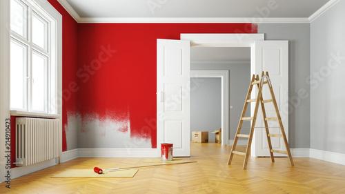 Wand rot streichen bei Renovierung im Raum