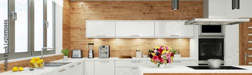 Moderne weiße Küche als Panorama