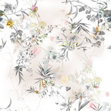 Watercolor painting of leaf and flowers, seamless pattern on white background - 214914603