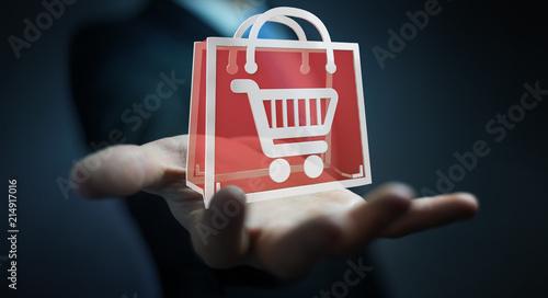 Leinwandbild Motiv Businessman using digital shopping icons 3D rendering