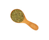 Wooden scoop spoon full of dried herbs spice - 214922896