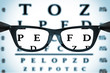 Leinwandbild Motiv Eye Chart or Sight Test Seen Through Eye Glasses. 3d Rendering
