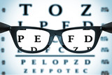 Eye Chart or Sight Test Seen Through Eye Glasses. 3d Rendering