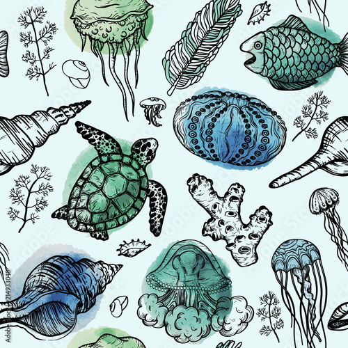 Fototapeta Seamless watercolor pattern with sketch of sea shells, turtle, corals and jellyfish. Hand Drawn background