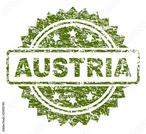 AUSTRIA Stamp Seal Watermark With Rubber Print Style Green Vector Of Caption