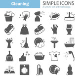Cleaning simple icons set for web and mobile design - 214937811