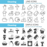 Cleaning line and simple icons set for web and mobile design - 214937814