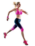 one caucasian woman sport runner running jogger jogging isolated on white background - 214943415