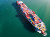 aerial view of the container ship sailing in the medsea, transport delivery shipment from loading port to destination discharging port, services by logistics system to internation Worldwide
