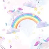Watercolor unicorn rainbow pattern - 214953290