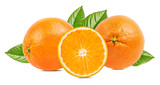 Juicy oranges with leaves isolated on white background with clipping path