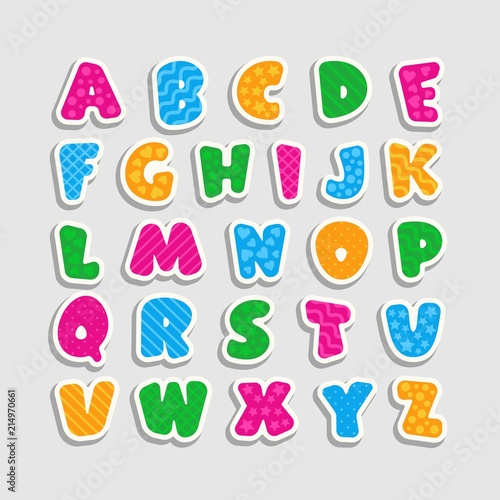 Alphabet for kids with a pattern in the form of strips, hearts, waves, stars and circles. Cartoon style. Children's font with pink, blue, yellow and green letters. Vector illustration.