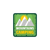 Moutains camping logo. Flat illustration of moutains camping vector logo for web isolated on white