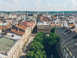 aerial view of old european city in summer time