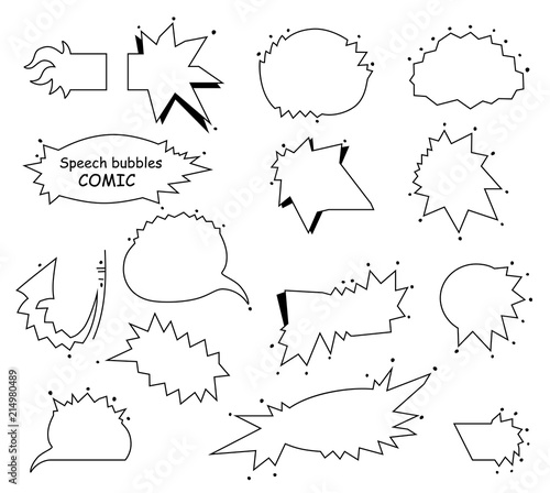 Foto Spatwand Pop Art A set of comic empty bubbles and elements. Blank speech bubbles, pop art frame design. Vector