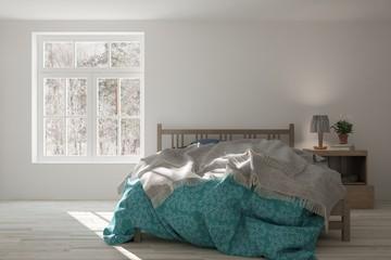 White bedroom with winter landscape in window. Scandinavian interior design. 3D illustration © AntonSh