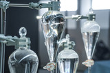 science laboratory glass distill boil water flask - 214982853