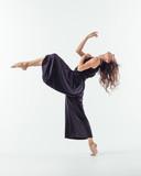 Beuatiful female dancer. Studio background. - 214983473