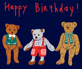 Greeting card with old teddy bears
