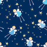 Little night fairies fly in the starry sky. Seamless background.