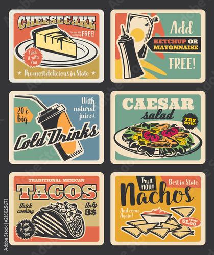 Fast food restaurant retro cards design