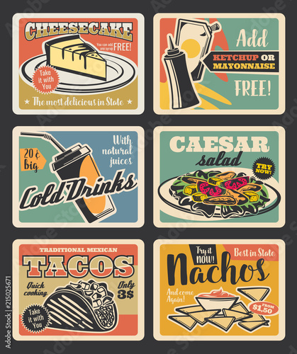 Sticker Fast food restaurant retro cards design