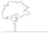 Continuous line, drawing of plant