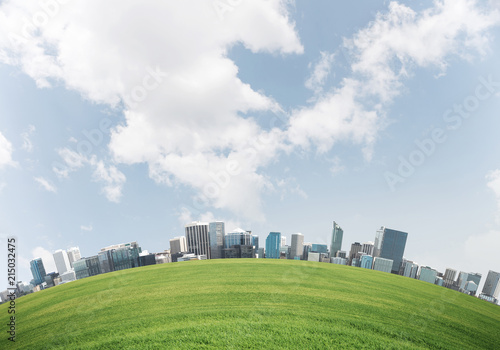 Bright wallpaper of nature friendly city.