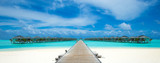 beach with water bungalows at Maldives - 215040470