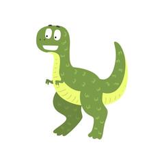 Cute cartoon green dinosaur, prehistoric dino character vector Illustration on a white background