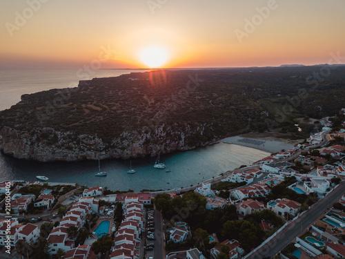 Foto Spatwand Groen blauw Sunset Balearic Island Aerial Drone Above Yachts Blue Water Menorca