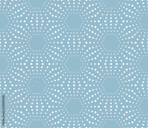Fototapeta Abstract geometric pattern of the points. A seamless background. Graphic blue and white pattern.