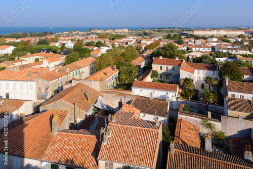 Panoramic view of Saint-Martin-de-Re from the church, Re Island, France  - 215062084