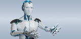 White male cyborg opening his two hands isolated on grey background 3D rendering