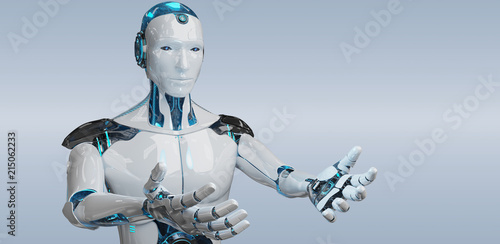 White male cyborg opening his two hands isolated on grey background 3D rendering - 215062233