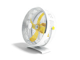 Modern yellow metal fan for cooling rooms right view 3d render on white background with shadow - 215070045