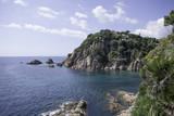 View of the sea with coastal rocks. Peaceful lagoon. - 215071838