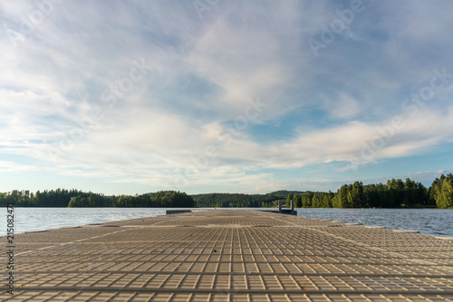 Acrylglas Pier Jetty at a lake, camping ground in Sweden