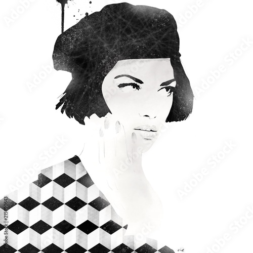 Black and white fashion illustration - 215090643