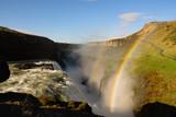 Cascada de Gullfoss con el arco iris en verano (vista de pájaro), Islandia